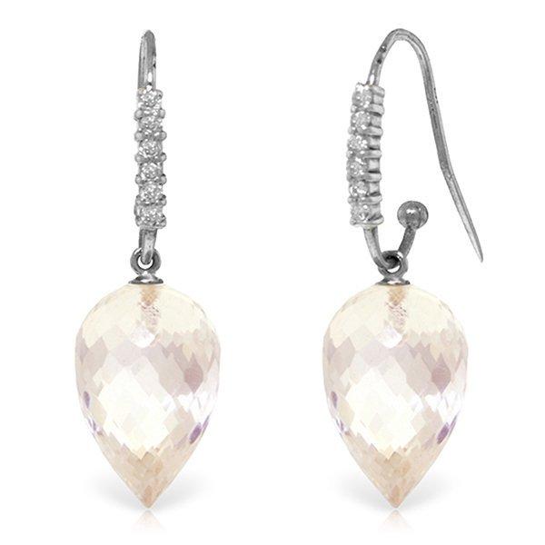 14k WG 24.50ct White Topaz & Diamond Earrings