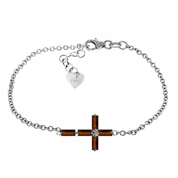 1.15ct 14k White Gold Horizontal Cross Garnet Bracelet