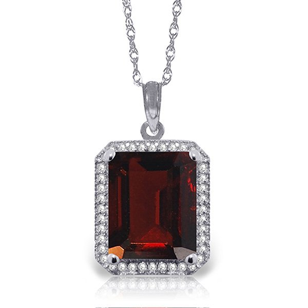 14k Solid Gold 7.50ct Garnet & Diamond Necklace