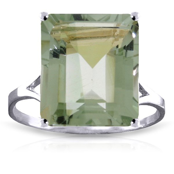 14k Solid Gold 6.50ct Green Amethyst Cocktail Ring