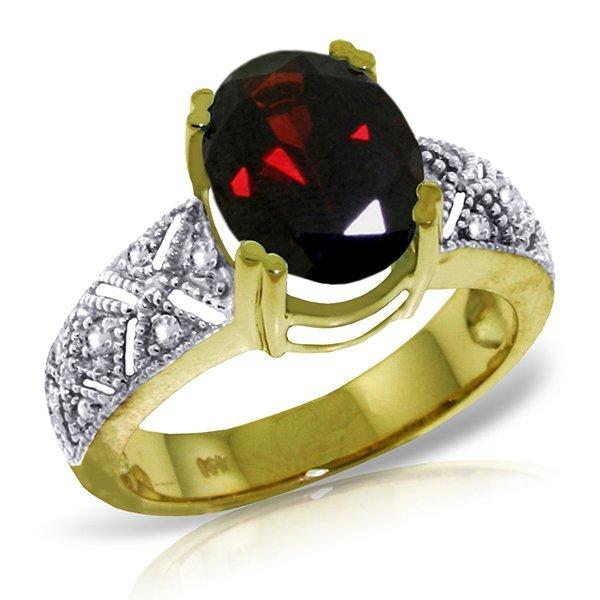 14k Yellow Gold 3.0ct Garnet & Diamond Ring