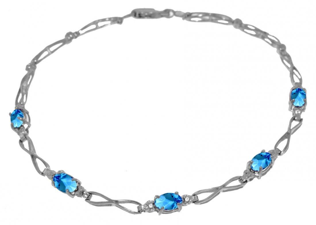 1.15ct Blue Topaz Bracelet with Diamond 14k White Gold