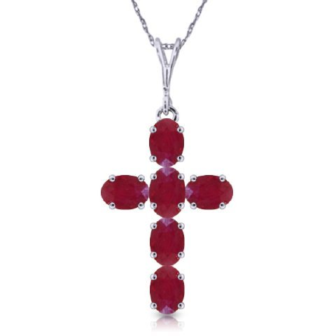 14k White Gold 1.50ct Ruby Cross Necklace