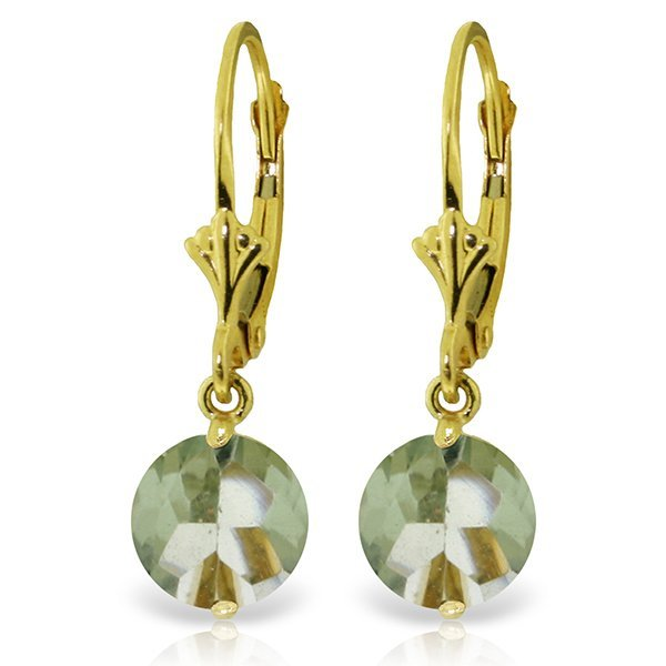 14k YELLOW GOLD 3.10ct Round Green Amethyst Earrings