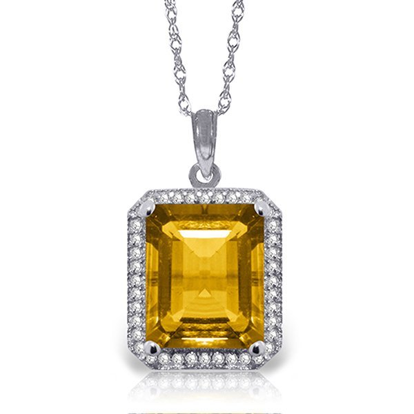 14k Solid Gold 5.20ct Citrine & Diamond Necklace