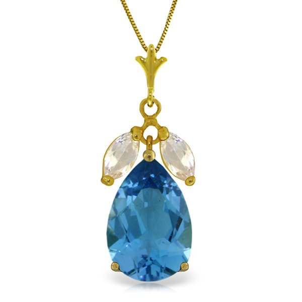 14k Solid Gold 6.0ct Blue Topaz & White Topaz Necklace