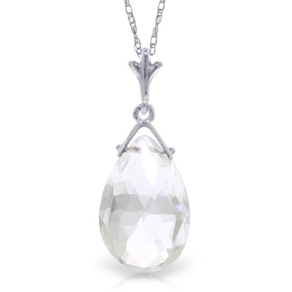 14k Solid Gold 5.10ct White Topaz Necklace