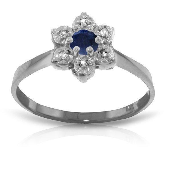 14k Solid Gold Diamond & 0.16ct Sapphire Ring