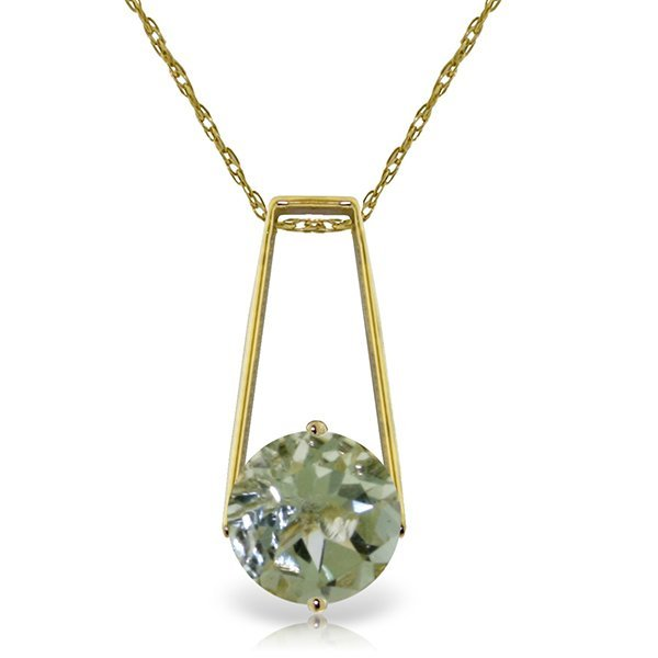 14k Solid Gold 1.45ct Green Amethyst Necklace