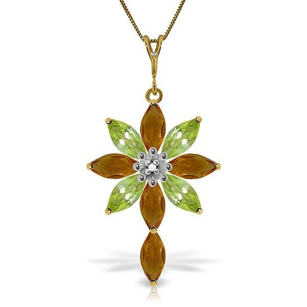 14k Solid Gold Citrine, Peridot & Diamond Necklace
