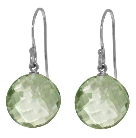 14k WG 12.00ct Green Amethyst Fish Hook Earrings