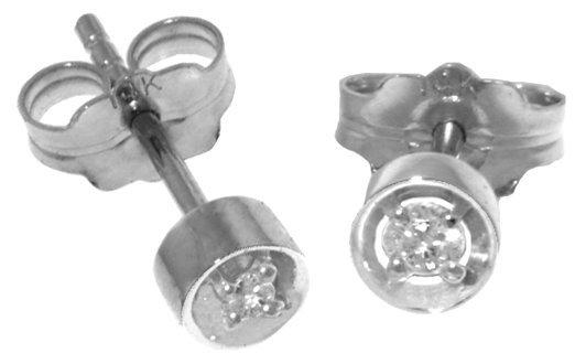 14k White Gold 0.03ct Diamond Stud Earings