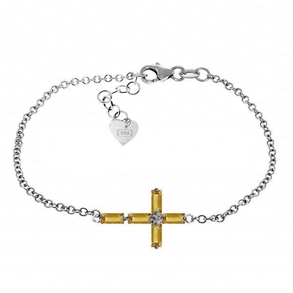 1.15ct 14k White Gold Cross Bracelet Natural Citrine