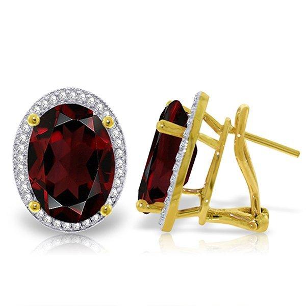 12.46ct 14k Solid  Gold Loren Garnet Diamond Earrings