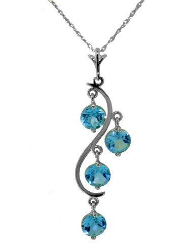 14k WG 2.25ct ROUND Blue Topaz Chandelier Necklace