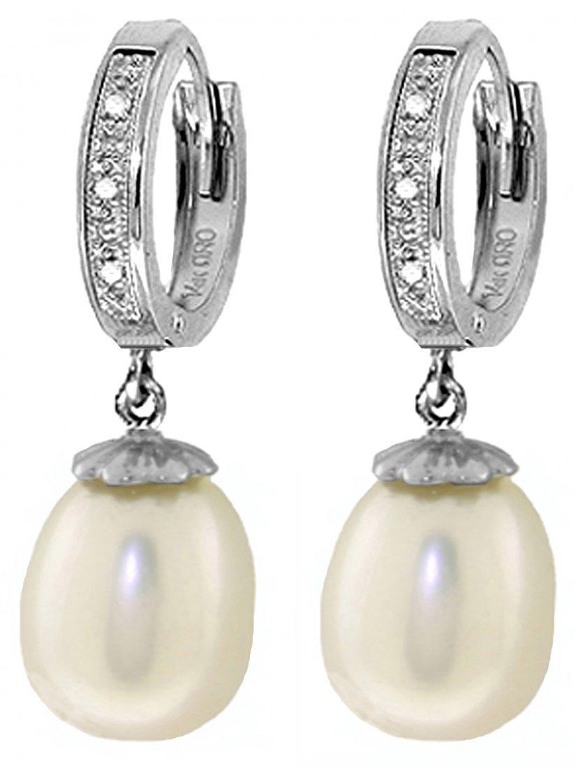8.0ct Pearl Dangle Earrings w/ Diamond Accent in 14k WG