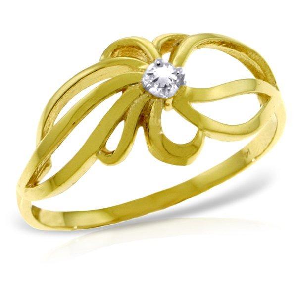 14k YG 0.05ct K-M, I3 Diamond Flower Ring