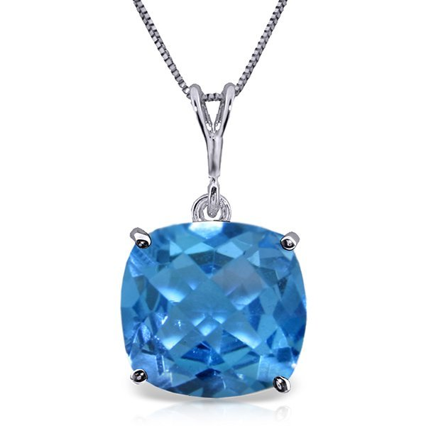 14k Yellow Gold 3.60ct Cushion Blue Topaz Necklace