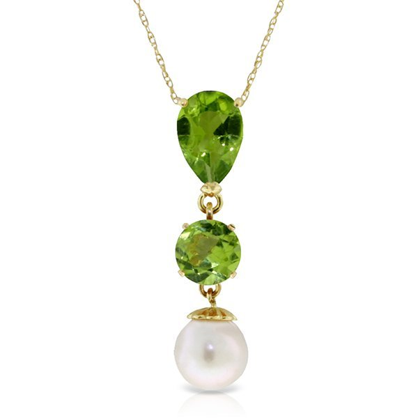 14k YG 1.75ct & 1.0ct Peridot and 2.50ct Pearl Necklace