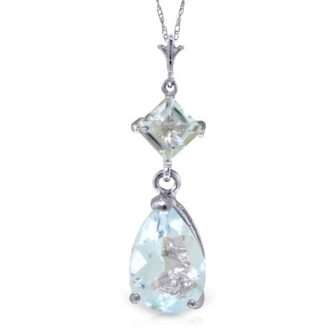 14k WG 1.50ct & 0.50ct Aquamarine Drop Necklace