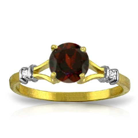 14K YG 0.02ct  DIAMOND & 1.05ct ROUND GARNET RING