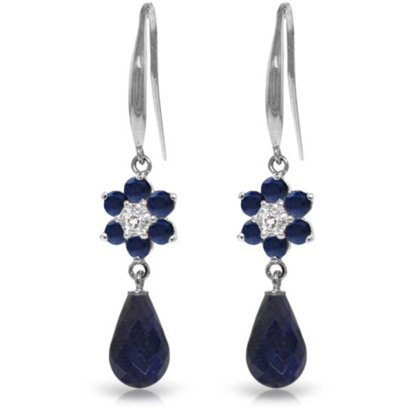 14k WG Sapphires & Diamond Fish Hook Earrings