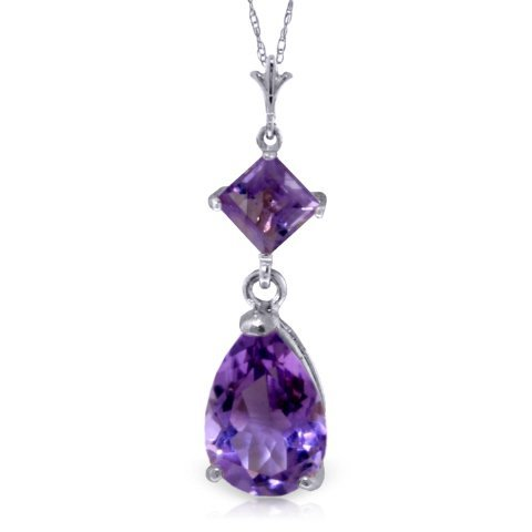 1.50ct & 0.50ct Amethyst Drop Necklace in 14k WG
