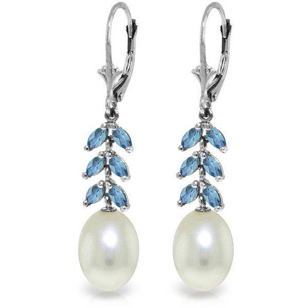 14k WG Blue Topaz & Pearl Fancy Earrings