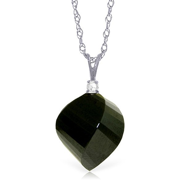 14K WG 0.05ct DIAM. & 15.50ct BLACK SPINEL NECKLACE