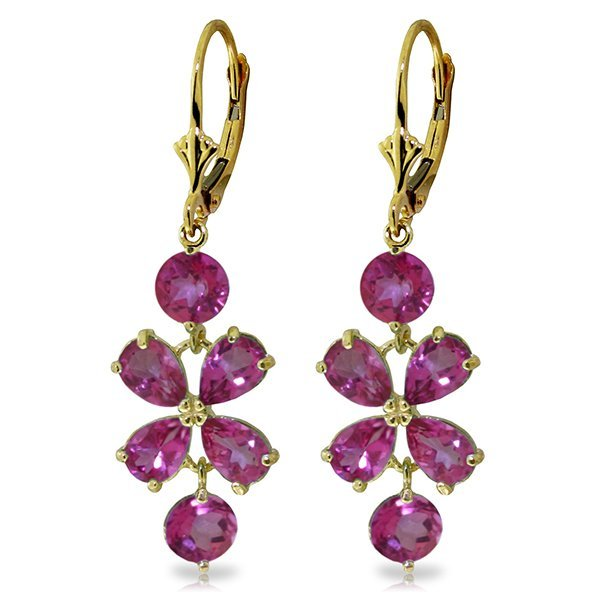 3.25ct PEAR Pink Topaz Flower Dangle Earrings in 14k YG
