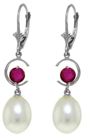 14k WG 1.0ct Ruby & Pearl Dangle Earrings