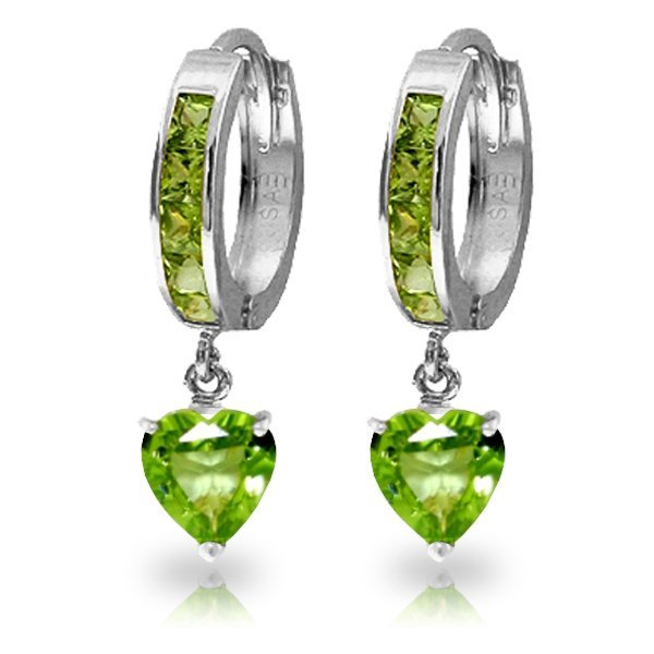 14K White Gold 3.25ct Heart & .85ct Peridot Hoop