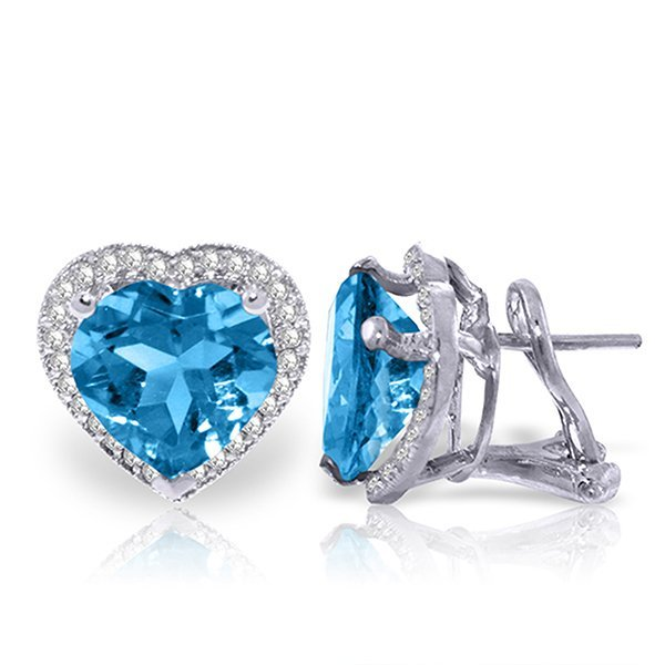 12.88ct 14k White Gold Blue Topaz Diamond Earrings