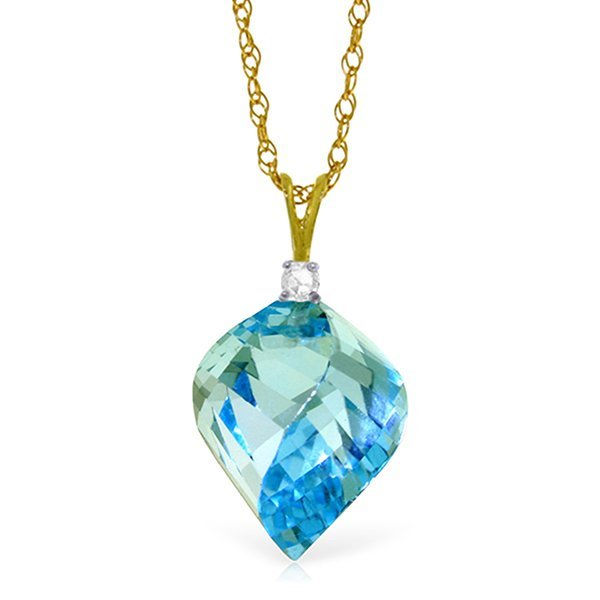 14k Gold 13.90ct Blue Topaz with Diamond Necklace
