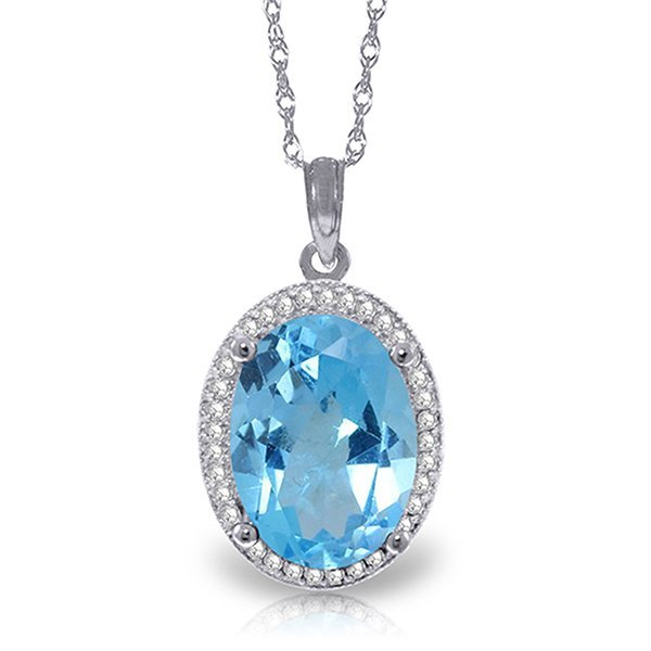 14k Solid Gold 7.40ct Blue Topaz & Diamond Necklace