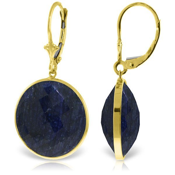 14K Solid  Gold 46.0ct  ROUND SAPPHIRES EARRING