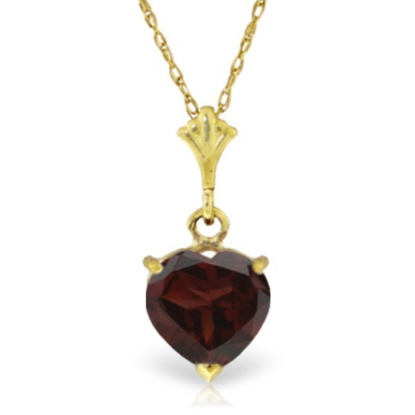 14K Solid Gold 1.15ct Heart Garnet Necklace