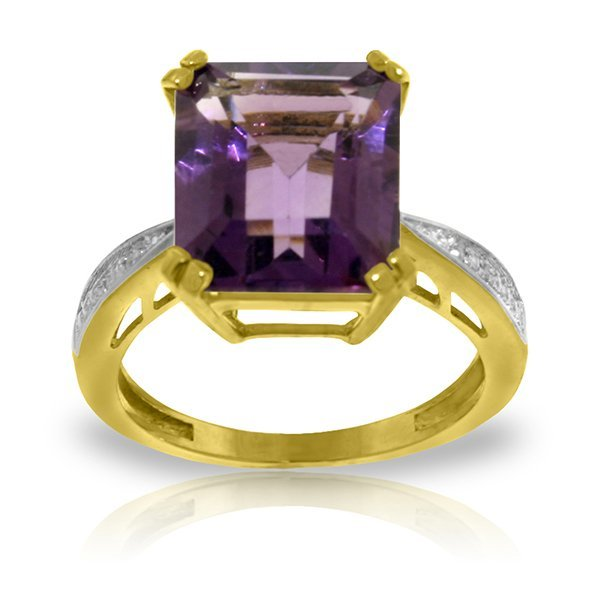 14K YG DIAMONDS & 5.60ct OCTAGON AMETHYST RING