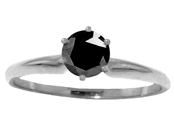 0.50ct Black Diamond Classic Solitaire Ring in 14k WG