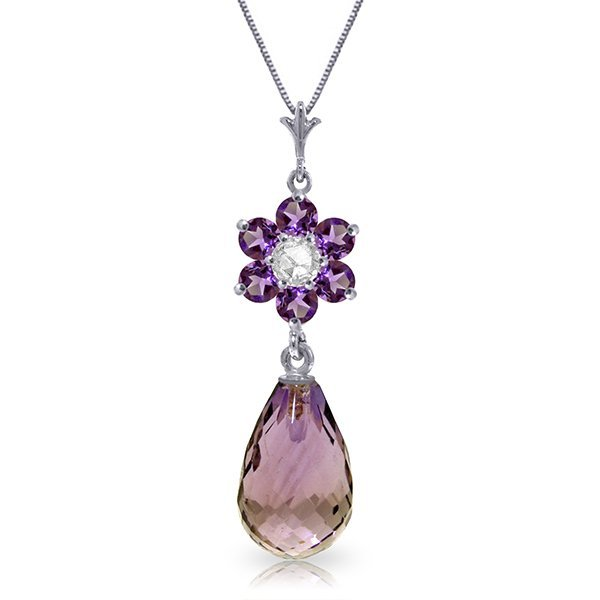 14K WG 2.25ct AMETHYSTS & .03ct DIAMOND NECKLACE