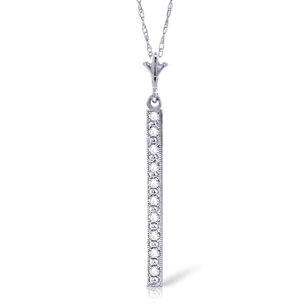 14k White Gold 0.05ct Diamond Bar Necklace
