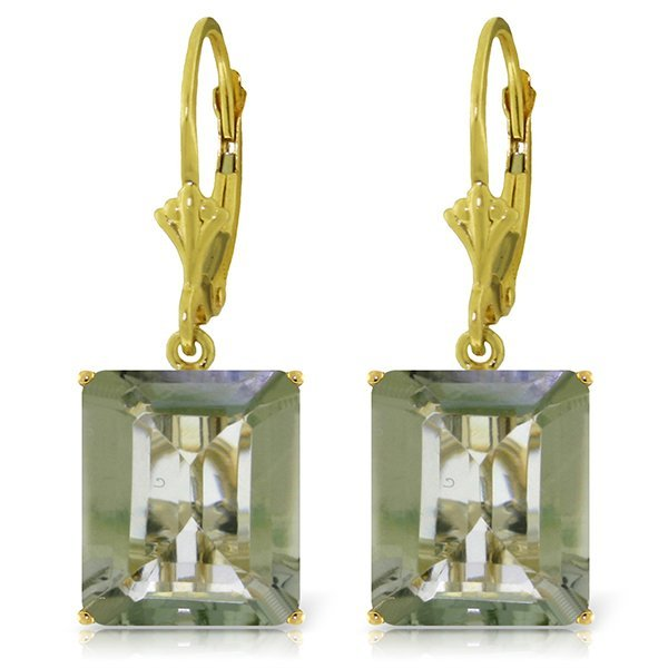 14k Solid Gold 13.0ct Green Amethyst Earrings