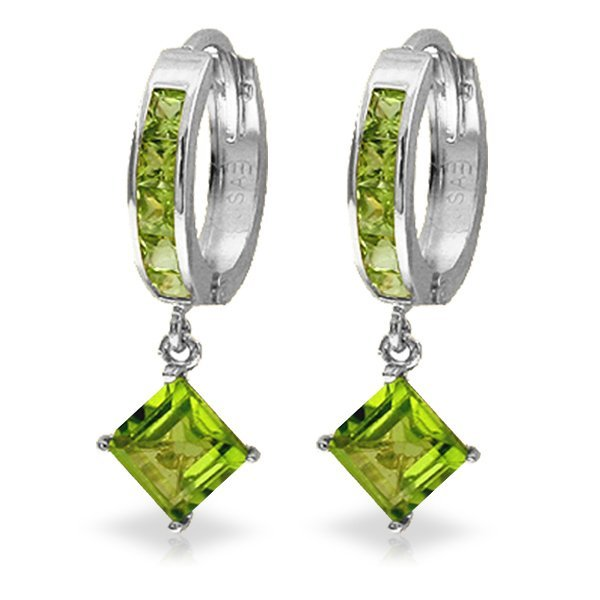 14K White Gold 3.2ct & .8ct Peridot Dangling Earring