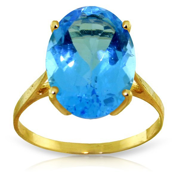 14K YG RING WITH NATURAL 8.00ct OVAL BLUE TOPAZ