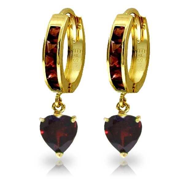 14K Solid Gold 3.25ct Heart & .85ct Garnet Hoop Earring