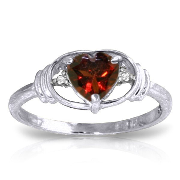 14K White Gold .95ct Heart Garnet & Diamond Ring