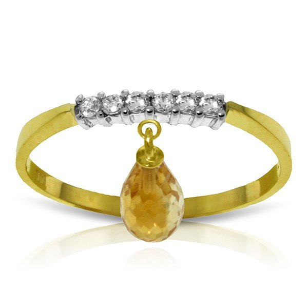 14k Solid Gold 1.35ct Citrine & Diamonds Ring