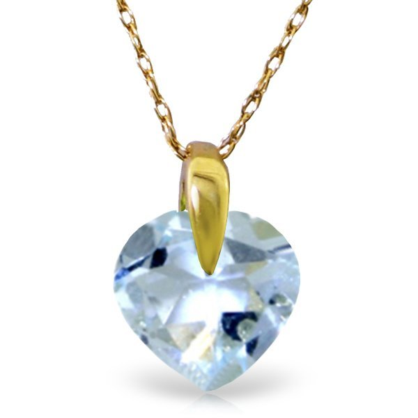 14K Solid Gold 1.15ct Heart Aquamarine Necklace