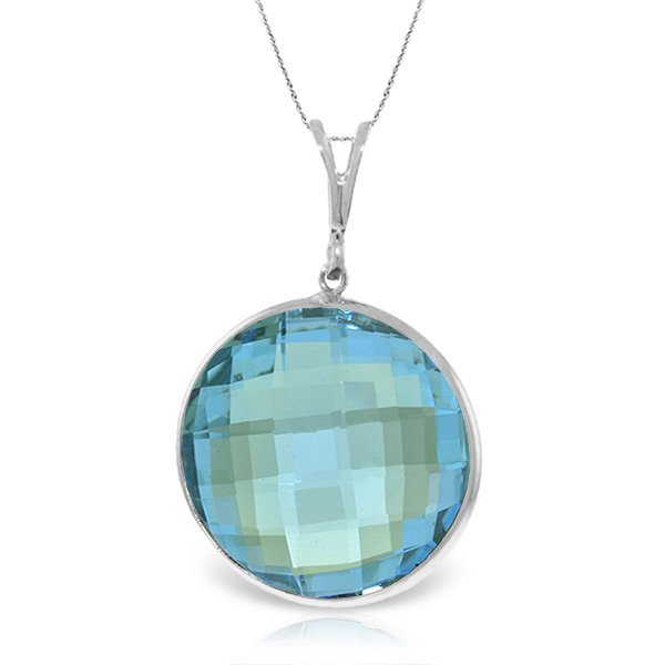 14K White Gold NECKLACE WITH 23.0ct ROUND Blue Topaz