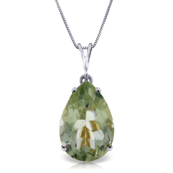 14k Solid Gold 5.0ct Green Amethyst Drop Necklace